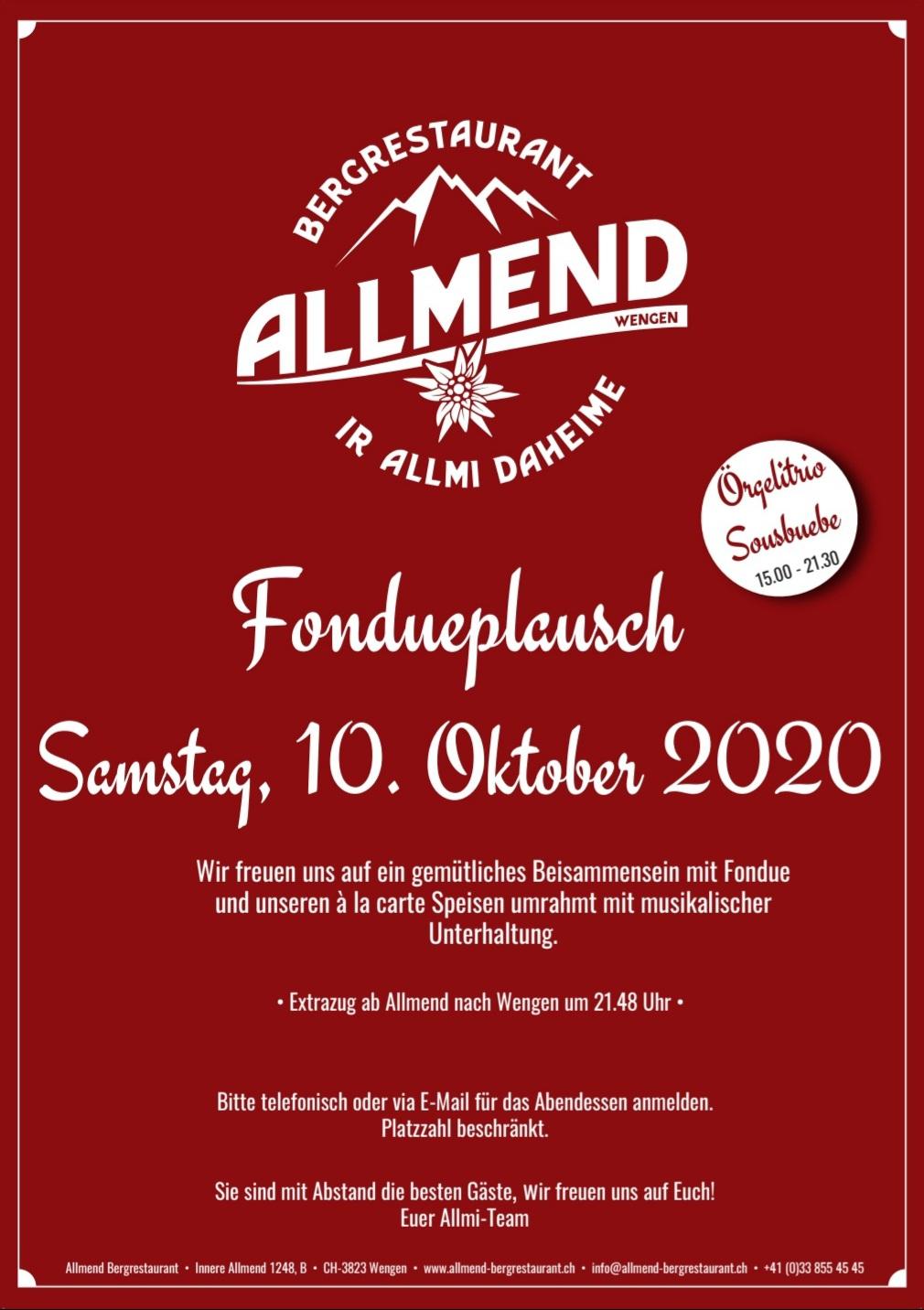 Fondueplausch 10. Oktober 2020